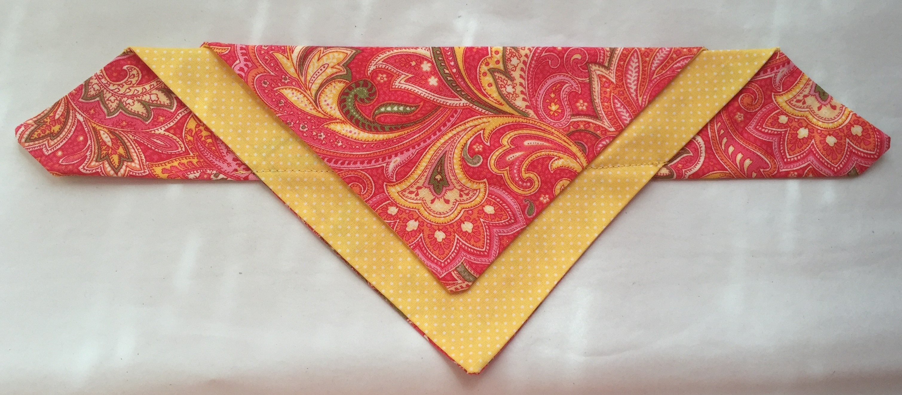 orange paisley with yellow polka dot background